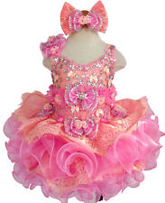 red Infant//toddler//baby  stone//Crystals Beading Pageant Glitz Dress 204
