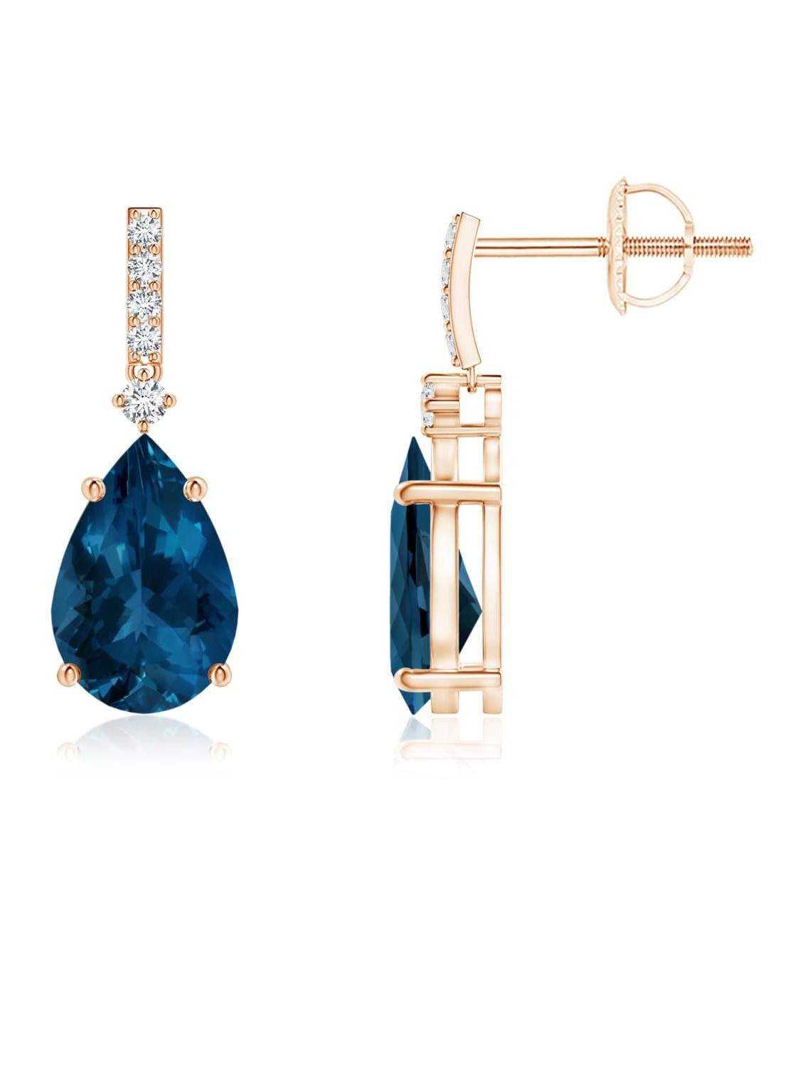 Mia Diamonds 14k Yellow Gold 9x6mm Pear Blue Topaz Earrings