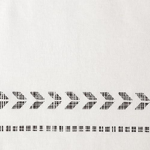 White//Black 90 W x 104 L Rivet Distressed Global Arrow Stripe King Duvet Cover Set