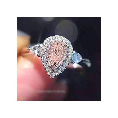 US Code 9 Yuren 3ct Pink//White Water Drop CZ Wedding Ring 925 Silver Womens Engagement Size 4-9