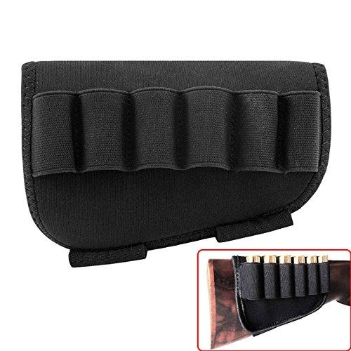 Butt Stock Shell Holder 12 Gauge 5 Rounds Rifle Cartridge Shotgun Shells Black