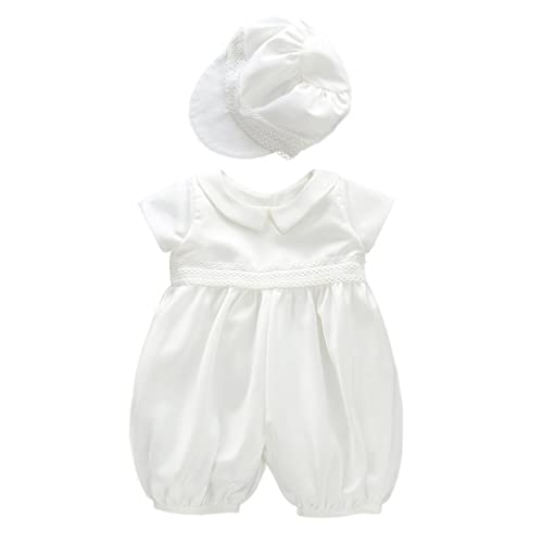 Petit Ami Boys Christening Romper Outfit with Hat Set Dressy Baptism Knicker