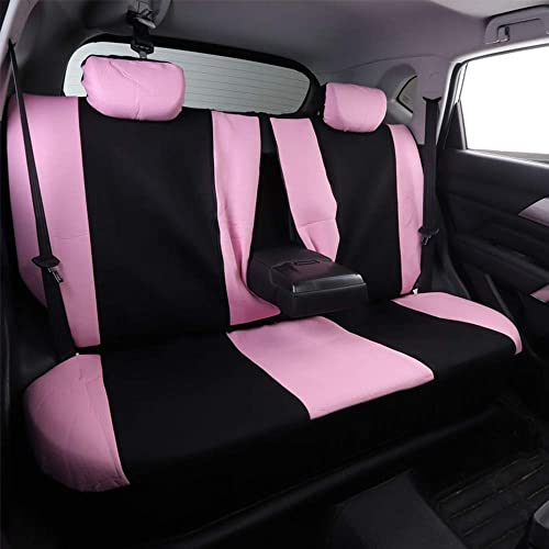 Motorup America PU Leather Auto Bench Seat Cover Full Set Fits Select Vehicles Car Truck Van SUV Newly Designed Solid Black