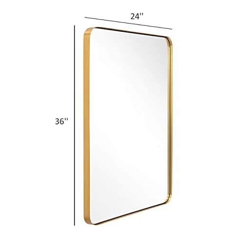 Buy Gold Wall Mirror 24x36 Inch Mirror For Bathroom Brushed Brass Stainless Steel Metal Frame With Rounded Corner Rectangle Glass Panel Wall Mounted Mirror For Decor Of Bathroom Vanity Washroom Online In