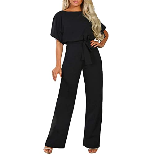 BTFBM Women Short Sleeve Casual Loose Fit Long Pant Jumpsuits Romper with Belt