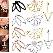 a4989d257 10 Pairs Ear Jacket Stud Lotus Flower Earrings for Women and Girls Set for  Sansitive Ears