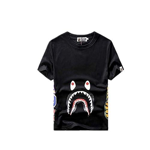 01c1c61afad1de Bape Fashion Summer Cotton Shark Teeth Print Short Sleeve T-Shirt for  Men/Women