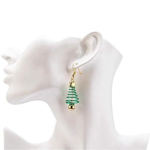 8 Styles Gejoy 8 Pairs Christmas Dangle Earrings Set Long Drop Earrings with Santa Tree Elk Patterns