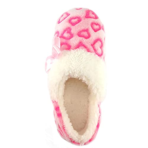 Wonder Nation Girls Pink Hearts Soft Loafer Style Slipper House Shoes