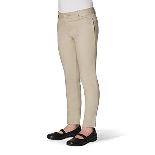 Khaki 12 Plus French Toast Girls Size Stretch Contrast Elastic Waist Pull-on Pant