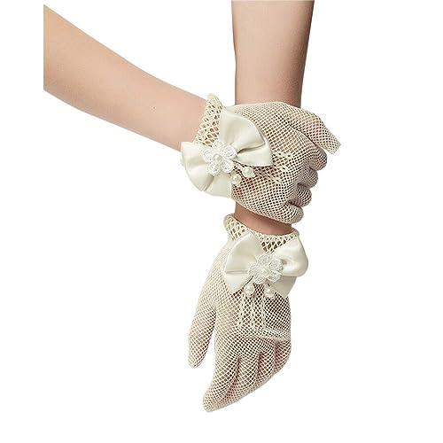 OLSUS White Satin Short Gloves Bridesmaid Wedding Flower Girl Bridal Floral Headdress Dress