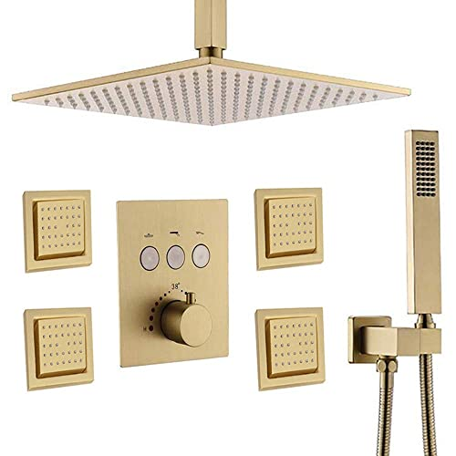 "Bathroom Rainfall 12/"" LED Shower Head/&6 Massage Jets/&Hand Spray Mixer Faucet Set"