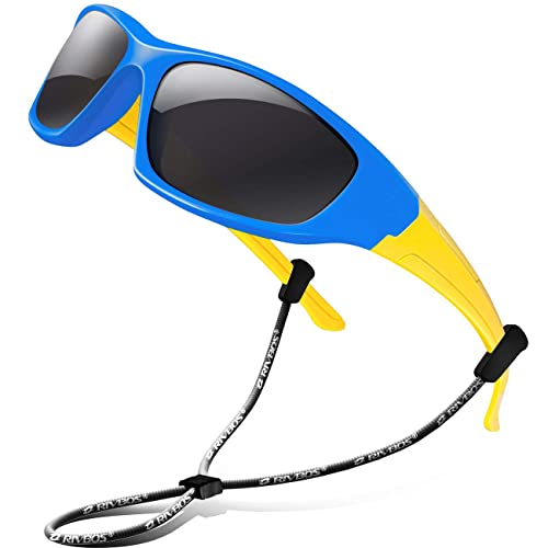 Kids Flexible Polarized Sunglasses for Boys Girls Age 3-10 with Straps