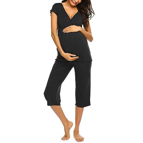 Ekouaer Womens Ultra Soft Maternity Nursing Pajamas Set for Hospital