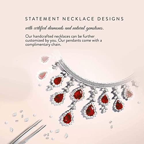 Pendant with Chain Diamondere Natural and Certified Gemstone and Diamond Drop Petite Necklace in 14k White Gold