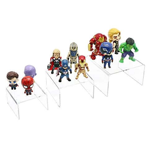 Jewelry Display Riser 2 Sets Acrylic Display Risers for Funko POP Figures Retail Displays Bridge Showcase for Cupcake Stands // Candy Dessert Table Decorations Clear Display Stands 3x4x5