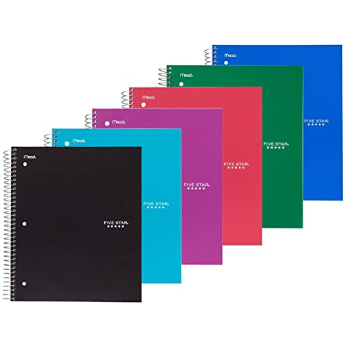 Set Includes: Red Purple Blue Covers Random 3 Pack Emraw 3 Subject Notebook Spiral with 120 Sheets of College Ruled White Paper Black