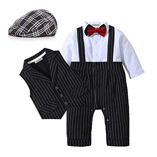 Fairy Baby Boys Outfits Set 3pcs Long Sleeve Gentleman Tuxedo Vest Coat Berets Hat