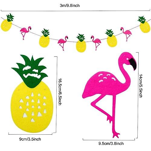 PAPAMOONA Hawaiian Luau Beach Party Decorations KIT with 16 Tropical Pineapple Flamingo Balloons