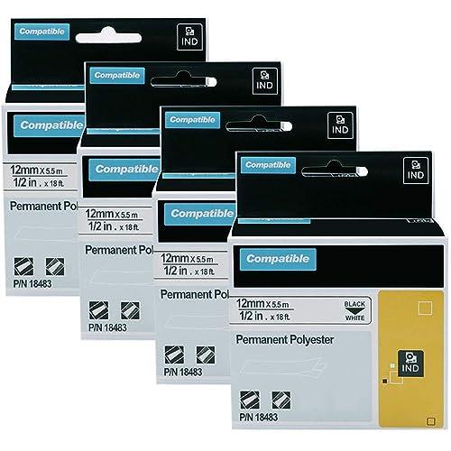 "5 PK 1//2/"" 18488 Black on White Label Tape for Dymo RHINO 3000 4200 3M PL200 150"
