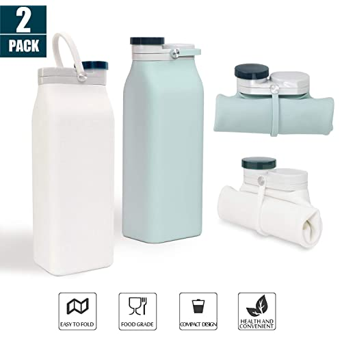 Collapsible Water Bottle Silicone Portable Foldable Leakproof Sport Travel 2PACK