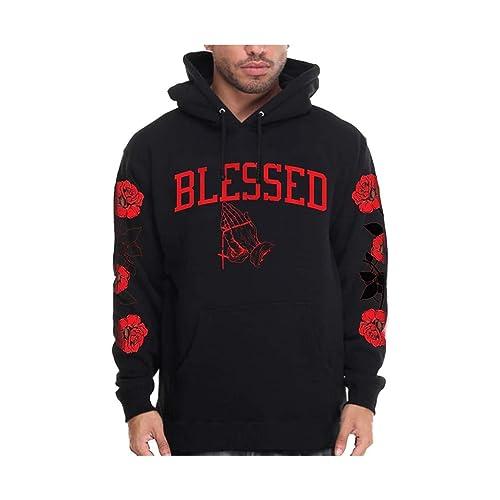 CaliDesign Mens Black Red OG Gangster Pullover Hoodie Bloods Urban Wear Hip HOP Sweatshirt