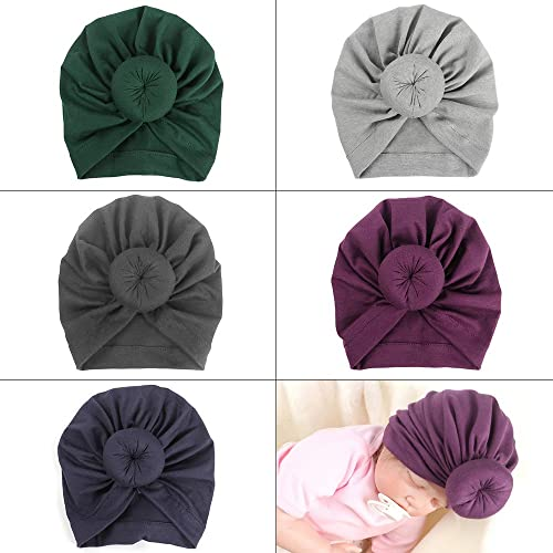 ISHOWDEAL 5PCS Baby Hat with Bow Baby Caps Cotton Hat Turban Headband for Newborn Toddler and Children Suitable for Baby 12-24 months Baby Hat