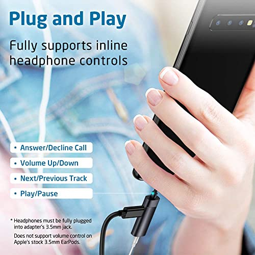 for Aux ESR 2-in-1 USB-C PD Headphone Jack Adapter Pixel 3//4 Type-C to 3.5mm Audio Adapter Headset Stereo Earphones Headphones Compatible with Samsung Galaxy S10//Note10 iPad Pro 2018