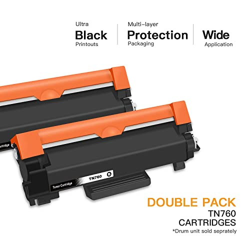 2 Pack TN760 WITH IC CHIP High-Yield TN730 Toner for Brother HL-L2350DW HL-L2390