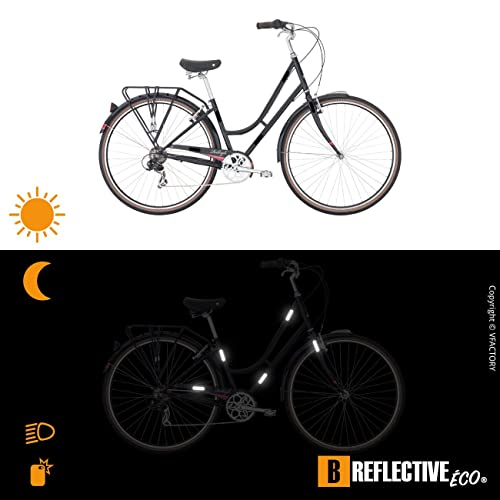 2 Pack 12 retro reflective stickers kit, Night high visibility safety, Universal adhesive for Bike//Stroller//Buggy//Helmet//Motorbike//Scooter//Toys, Black B REFLECTIVE,