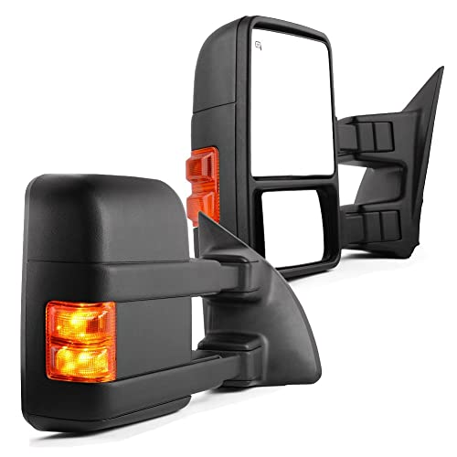 Puddle AERDM New towing mirror Black Housing with Temperature sensor fit Ford Super Duty F-250 F-350 F-450 F-550 2017 2018 2019 w//Blind Spot with arrow Lamp,Turn Signal Clearance and Auxiliary Lamp