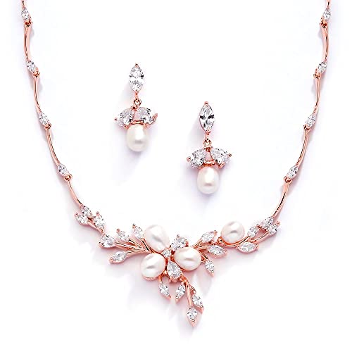 Gold Wedding Jewelry Set with Freshwater Pearls and Crystals Mariell