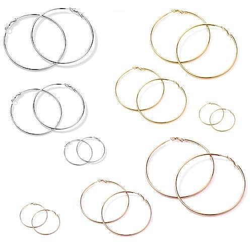 Stainless Steel Big Hoop Earrings Hypoallergenic for Women Girl Sensitive Ears 4 Pairs a Set