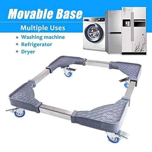 Black Plus Size Adjustable Washing Machine Stand for Washer Dryer Stand Dolly Refrigerators Pedestal Base Roller Mobile Heavy Base