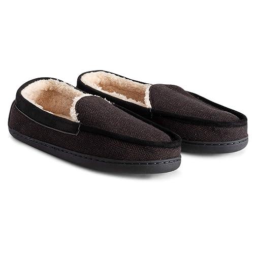 Polar Womens Memory Foam Comfort Faux Fur Moccasin Loafer Rubber Sole Winter Plush Outdoor Cozy Slipper Duel Size