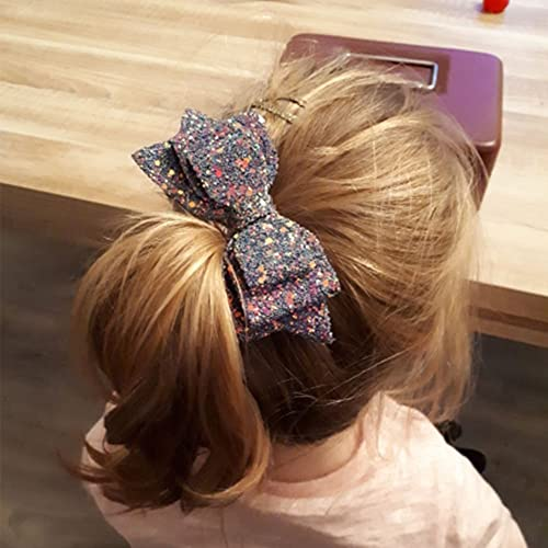 5 Inch Glitter Hair Bows Boutique Hair Clips 10 Pcs Multi Color Glitter Sequins Big Hair Bows for Baby Girls Teens Toddlers