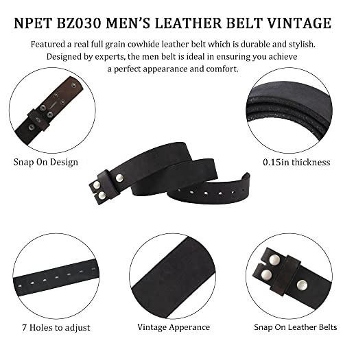 Vintage Full Grain Leather Belt Distressed Design Snap on Belt Strap Brown