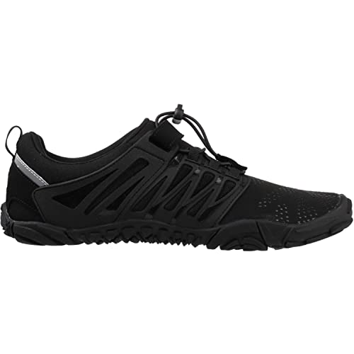 WHITIN Mens Trail Running Shoes Minimalist Barefoot 5 Five Fingers Wide Width Toe Box Gym Workout Fitness Low Zero Drop Male Yoga Zumba Comfortable Pilates Heel Black Size 15