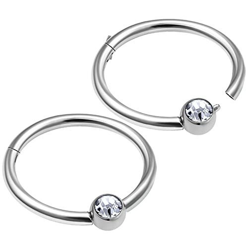 2pcs 20g Surgical Steel Cz Captive Bead Ring Earring Tragus Piercing Nose Ring