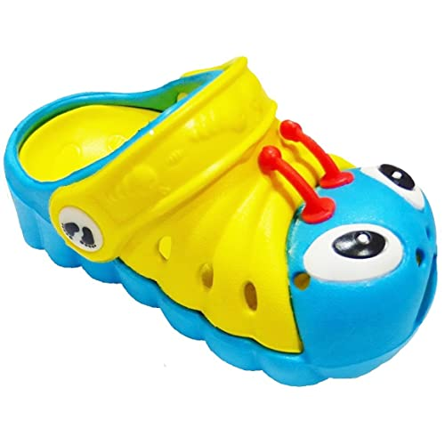 4 Teal//Yellow Clogstrom Clogs for Infant or Toddler Boys and Girls Unisex Sandal Animals Shoe