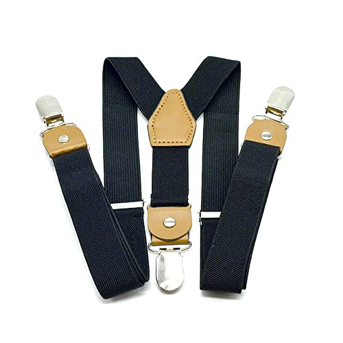 3 Years - 9 Years Y Shape Elastic Adjustable Suspender with 4 Strong Clips Brown,27 inches Men Boy Suspenders Bow Tie Set 1 Inch,Black Leather