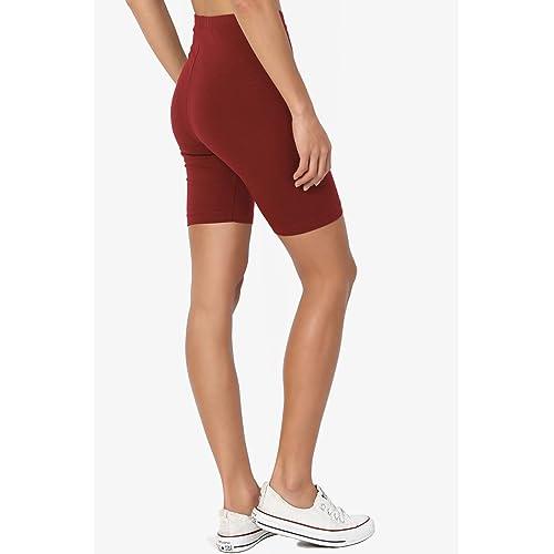 TheMogan Mid Thigh Stretch Cotton Span High Waist Active Basic Short Leggings