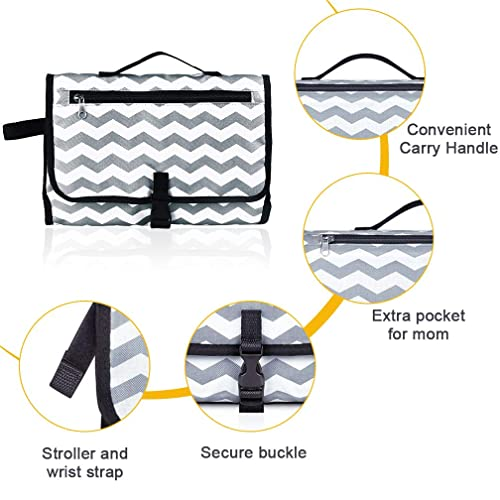YiMeng Portable Baby Changing Pad,Diaper Changing Mat Travel Kit Built-in Head Cushion Lightweight Waterproof Baby Travel Changing Station Black