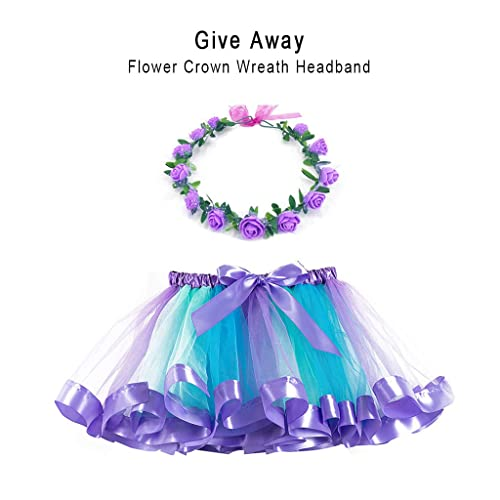 Girls Layered Tulle Rainbow Tutu Skirts with Colorful Hairbow or Butterfly Headband Girls Dressing Up,Dancing Party Tutu.