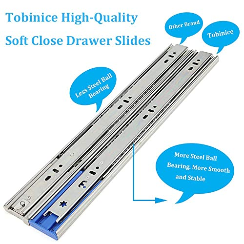 10 Pairs of 12 Inch Hardware 3-Section Soft Close Full Extension Ball Bearing Side Mount Drawer Slides,100 LB Capacity Drawer Slide