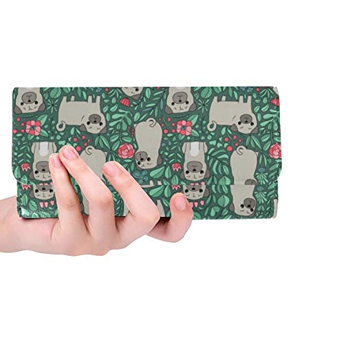 InterestPrint Funny Christmas Animal Large Leather Trifold Multi Card Holder Wallet Clutch Long Purse for Women
