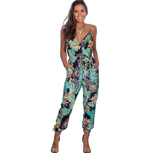 Longwu Womens Casual Sleeveless Jumpsuit Flower Printed Overall Long Wide Legs Pants Romper Playsuits with Pockets