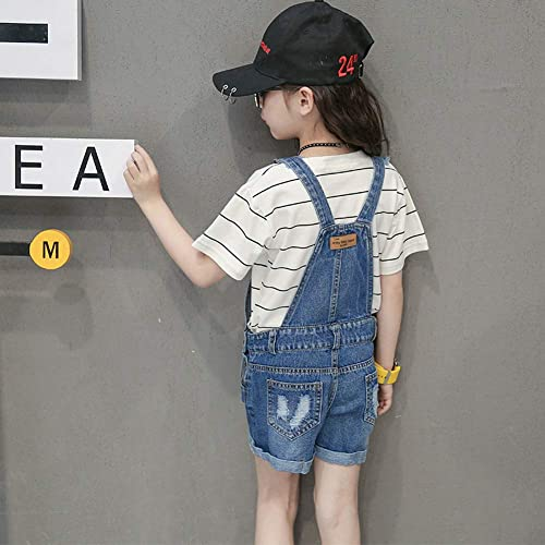 LAVIQK 4-16 Girls Little Big Kids Denim Shortalls Bib Overalls Jumpsuit Boyfriend Jeans Denim Romper Blue