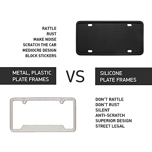 Rain-Proof Grey Silicone License Plate Frame with Patented Design 5 Drainage Holes License Plate Frames Anti-Rust and Anti-Rattle for Car License Plate Frame
