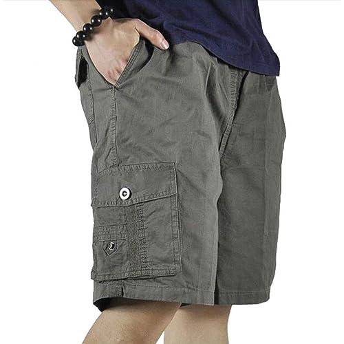YGT Mens Full Cotton Full Elastic Waist Cargo Performance Baseline Short